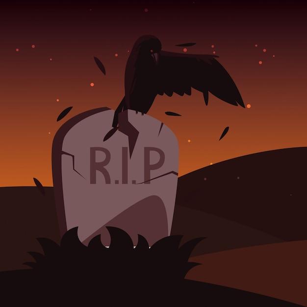 Pierre tombale halloween avec animal corbeau Vecteur Premium