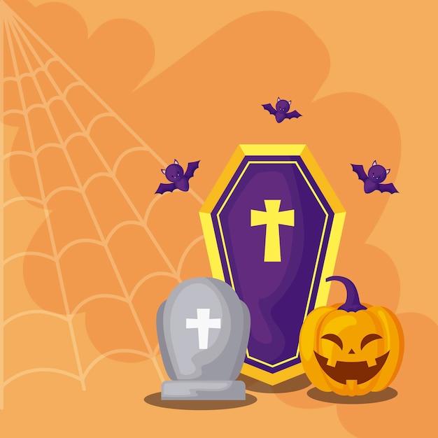 Pierre tombale avec des icônes en scène halloween Vecteur Premium