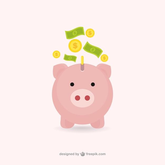 Piggybank avec de l'argent Vecteur gratuit