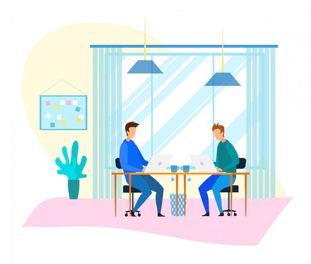 Les pigistes travaillent sur pc dans un bureau de coworking moderne Vecteur Premium