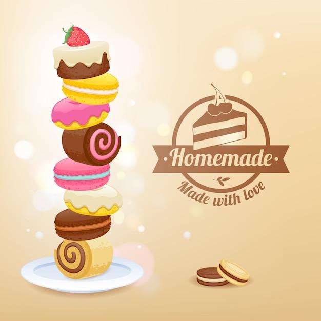 Pile de bonbons sur l'illustration vectorielle plaque Vecteur Premium