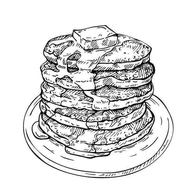 Pile De Croquis De Crêpes Avec Du Beurre Et Du Sirop Sur Une Assiette. Vecteur Premium