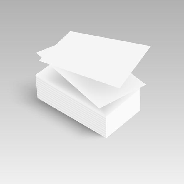 Pile De Carte Visite Vierge Avec Des Ombres Douces Vecteur Premium