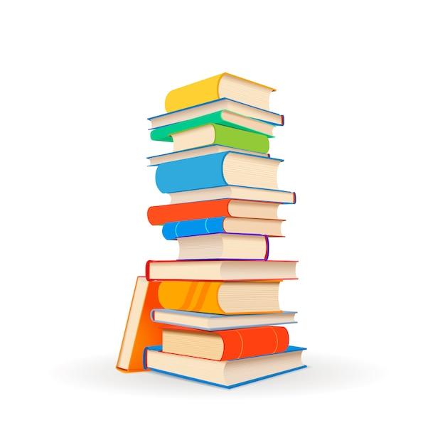 Pile De Différents Livres Colorés Sur Blanc Vecteur Premium