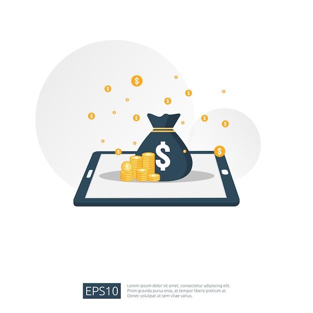 Pile de dollar et sac d'argent sur smartphone Vecteur Premium