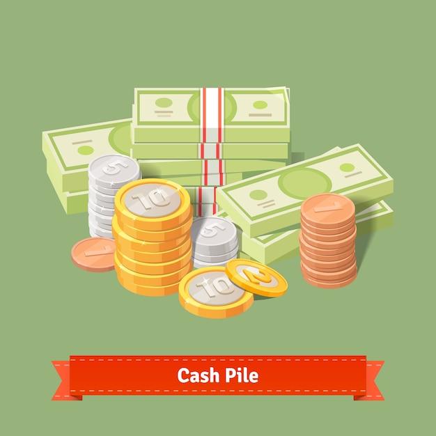 Pile empilée de pièces de monnaie et de billets de banque Vecteur gratuit