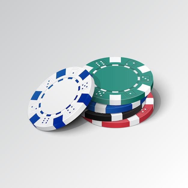 Pile de jetons de casino détaillés Vecteur Premium