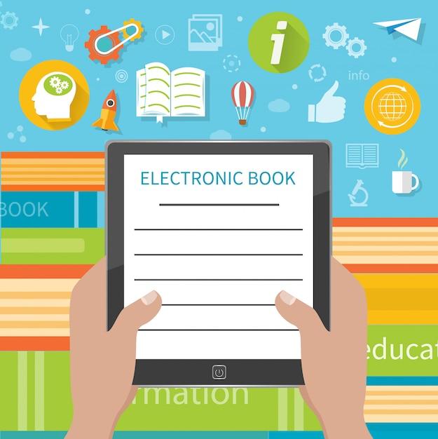Pile de livres colorés avec lecteur de livre électronique à la librairie. bande dessinée Vecteur Premium
