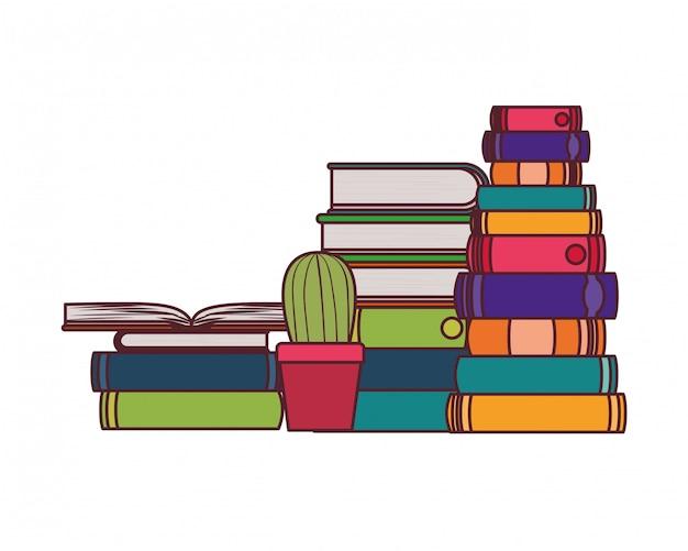 Pile de livres avec plante d'intérieur Vecteur gratuit
