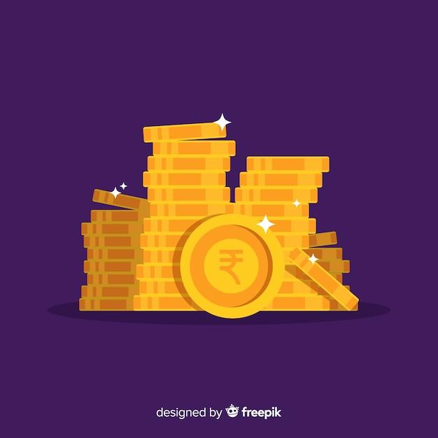 Pile de pièces d'or en roupie indienne Vecteur gratuit
