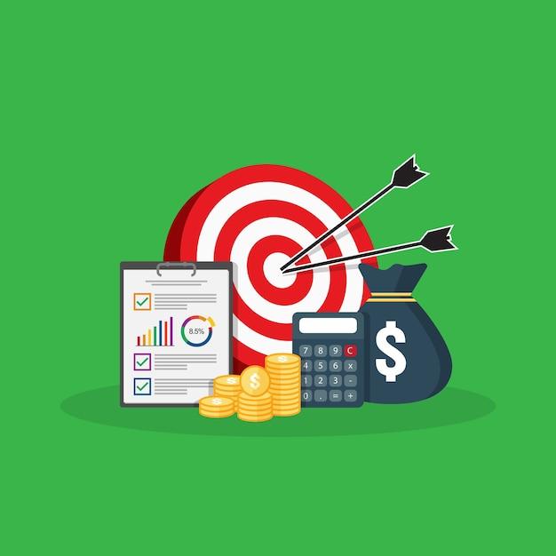 Pile de pièces d'or, sac d'argent pour réaliser des économies. calcul, analyse de données, concept d'investissement de rapport. Vecteur Premium