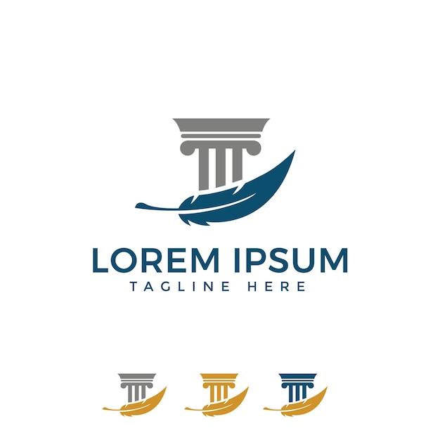 Pilier avec la conception de logo de plume pour le droit Vecteur Premium