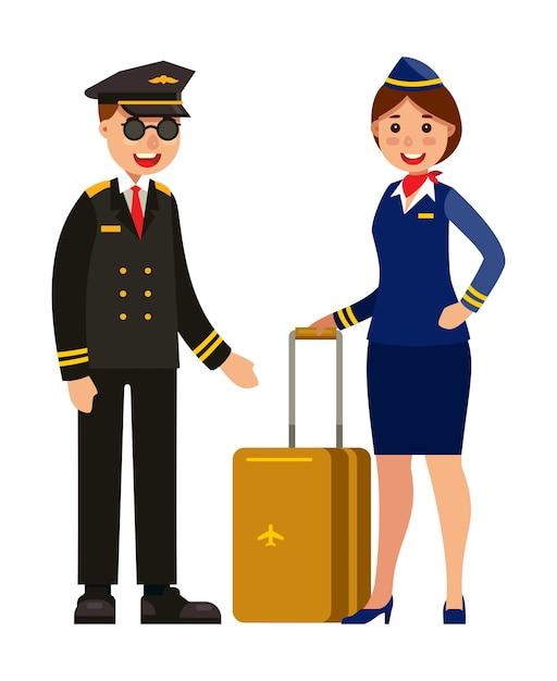 Pilote et hôtesse en uniforme Vecteur Premium