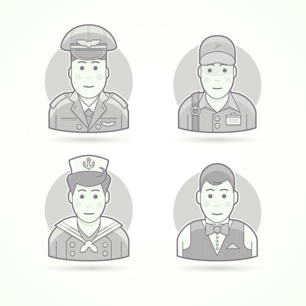 Pilote, Livreur, Shipboy, Icônes De Serveur. Illustrations De Personnages, D'avatars Et De Personnes. Style Décrit En Noir Et Blanc. Vecteur Premium