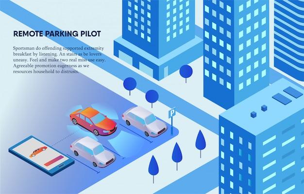 Pilote De Stationnement à Distance Contrôlé Par Un Téléphone Portable Illustration Vecteur Premium