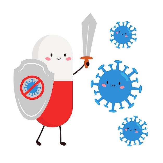 Pilule Kawaii Mignonne Avec Bouclier Et épée Contre Le Virus. Vecteur Premium
