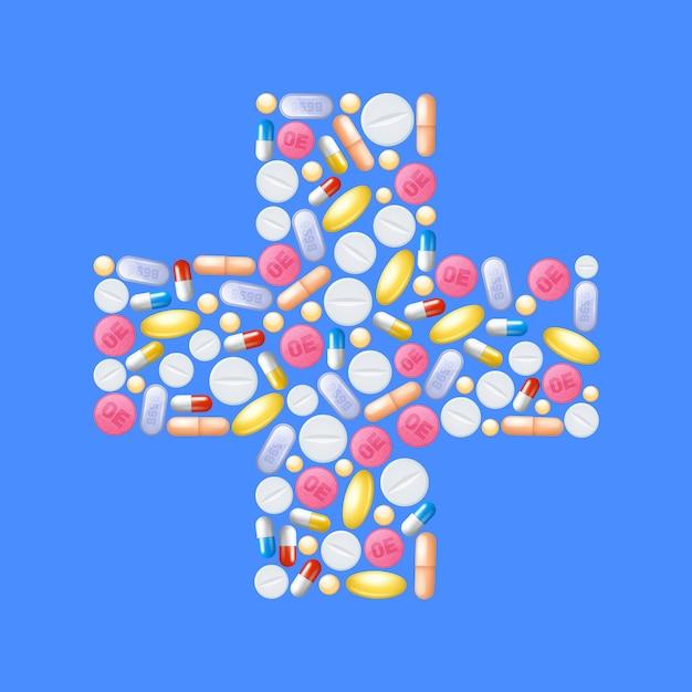 Pilules en forme de croix Vecteur gratuit