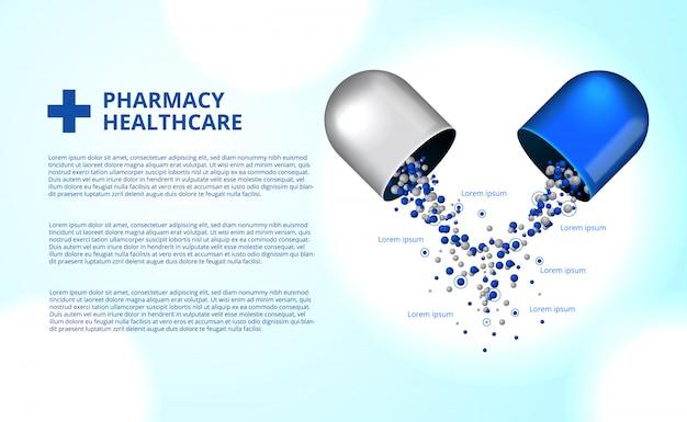 Pilules de pharmacie capsule médecine santé Vecteur Premium