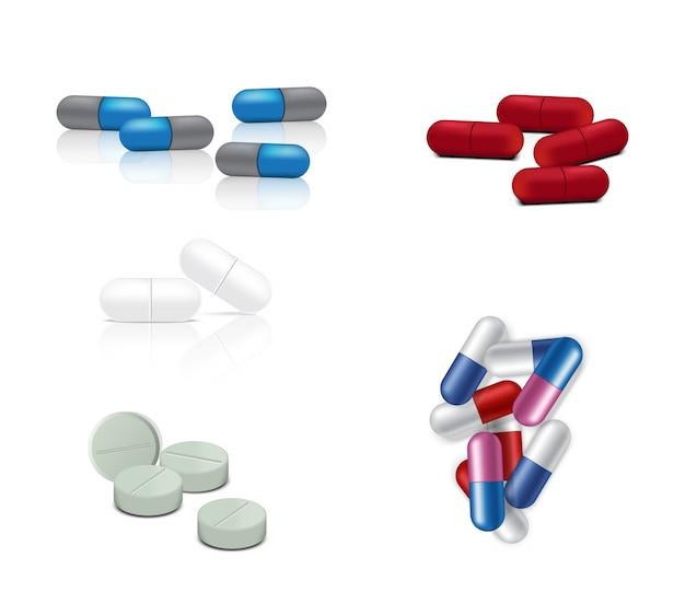 Pilules réalistes Vecteur Premium