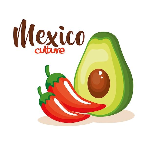Piment mexicain à l'avocat Vecteur Premium