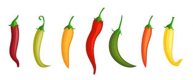 Piment. Piments Rouges, Verts Et Jaunes Chauds. Différentes Couleurs De Poivre. épices Mexicaines, Signes D'icône De Paprika. Vecteur Premium