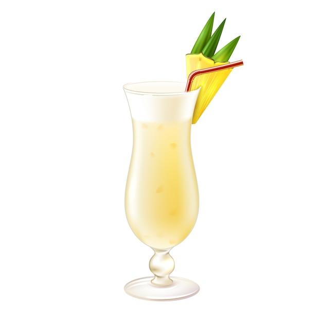 Pina Colada Cocktail Réaliste Vecteur gratuit