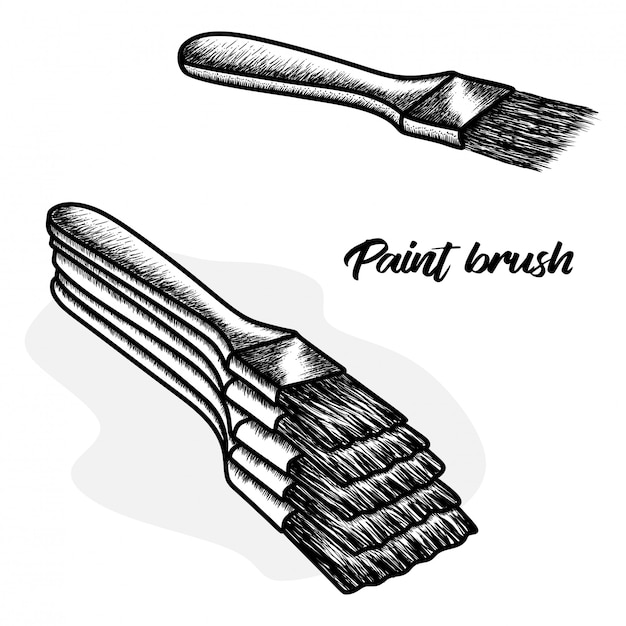 Pinceau dessiné à la main Vecteur Premium