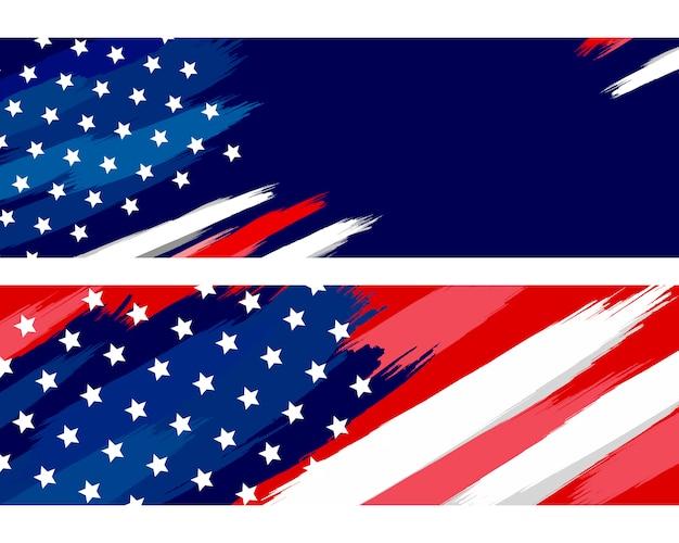 Pinceau drapeau usa ou américain sur blanc Vecteur Premium