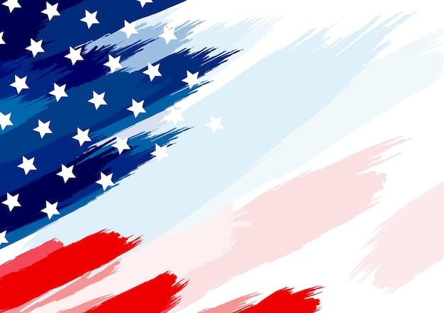 Pinceau drapeau usa ou américain sur fond blanc Vecteur Premium