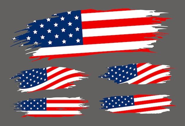 Pinceau drapeau usa sur fond gris Vecteur Premium