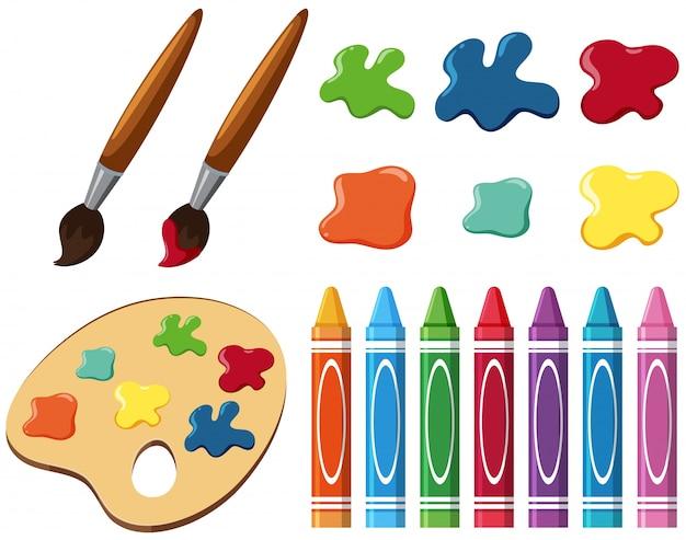 Pinceaux et crayons de couleur sur fond blanc Vecteur Premium