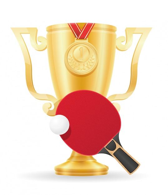 Ping-pong cup gagnant illustration vectorielle stock d'or Vecteur Premium