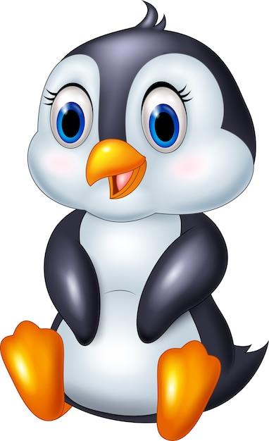 Pingouin animal de dessin animé mignon Vecteur Premium