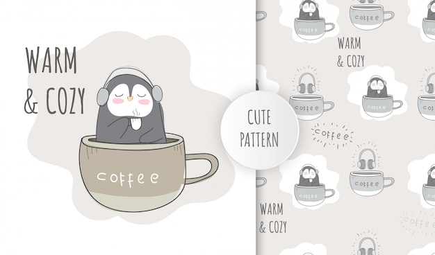 Pingouin Animal Mignon Motif Plat Sur La Tasse De Café Vecteur Premium