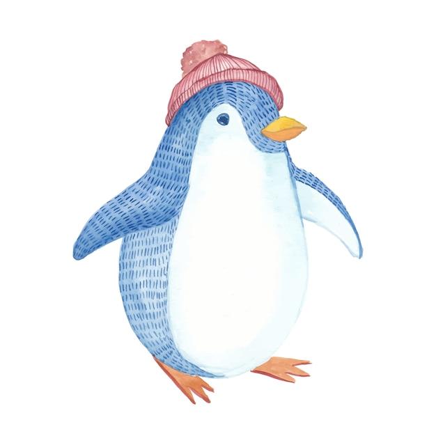Pingouin Aquarelle Avec Chapeau Rouge Peint à La Main Vecteur Premium