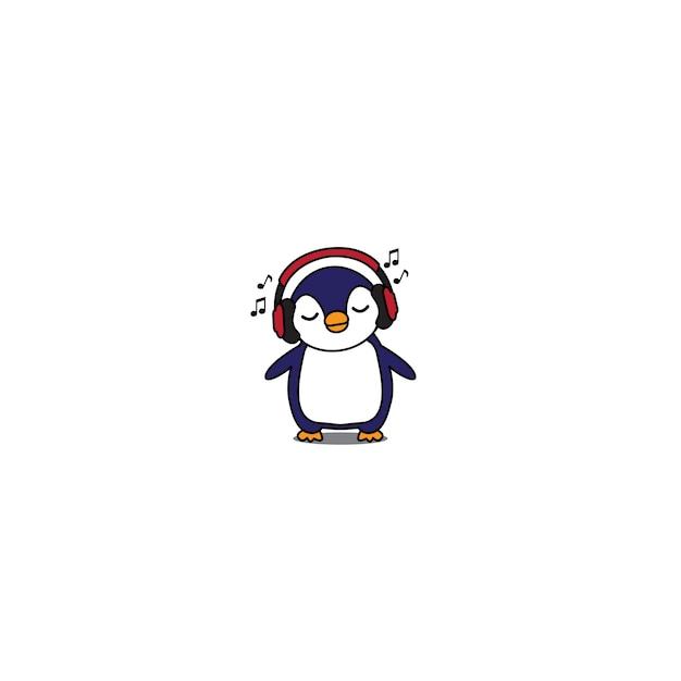 Pingouin avec un casque Vecteur Premium