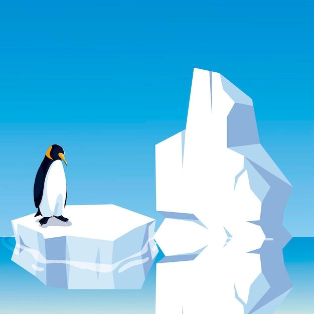 Pingouin Debout Sur Un Iceberg Dans L'illustration Du Pôle Nord Vecteur Premium