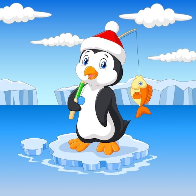 Pingouin De Dessin Anime Debout Sur La Banquise Vecteur Premium