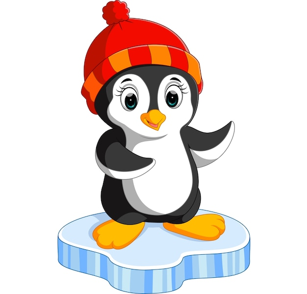 Pingouin de dessin animé heureux sur la glace   Télécharger des Vecteurs Premium
