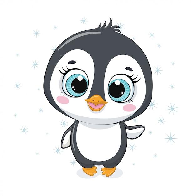 Pingouin De Dessin Animé Mignon Vecteur Premium