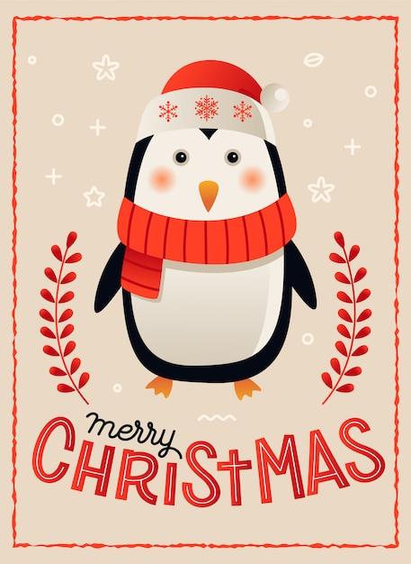 Pingouin joyeux carte de noël affiche modèle illustration vectorielle Vecteur Premium