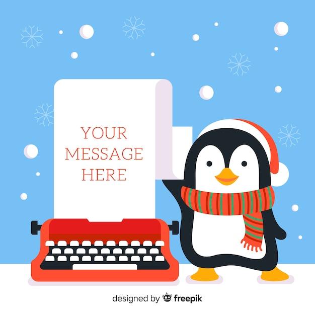 Pingouin et machine à écrire Vecteur gratuit