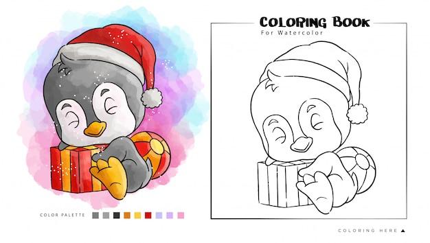 Pingouin Mignon Avec Cadeau Porter Le Chapeau Du Père Noël, Illustration De Dessin Animé Pour Le Livre De Coloriage Aquarelle Vecteur Premium