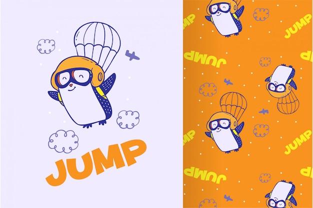 Pingouin mignon dessiné avec un motif Vecteur Premium