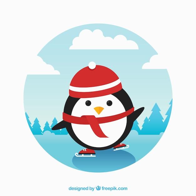 Pingouin mignon faire du patin à glace Vecteur gratuit