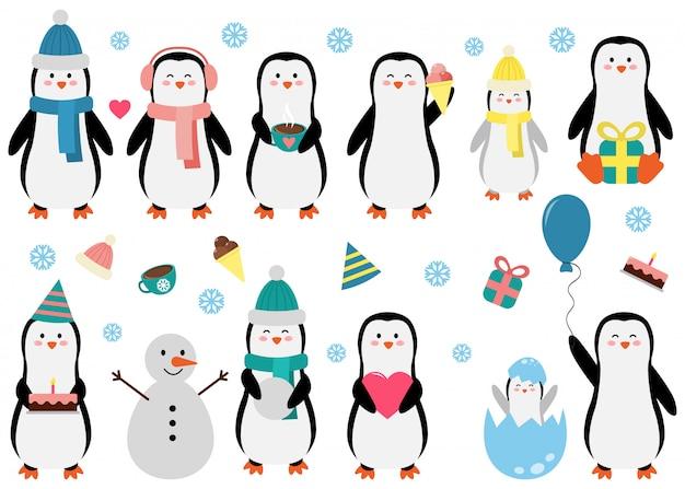 Pingouin mignon mis dans différentes situations. illustration vectorielle drôle pour les enfants. Vecteur Premium