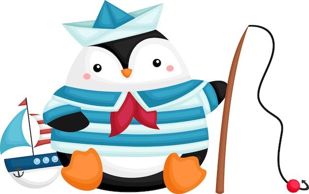 Un Pingouin Mignon Portant Un Costume De Marin Vecteur gratuit