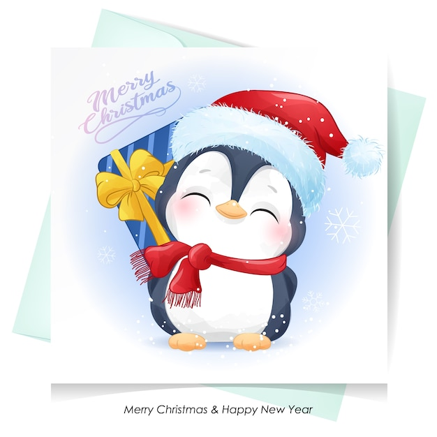 Pingouin Mignon Pour Noël Avec Carte Aquarelle Vecteur Premium