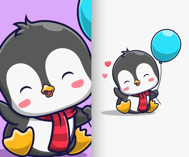 Pingouin Mignon Tenant Une Illustration D'icône De Ballon. Personnage De Dessin Animé De Mascotte De Pingouin. Vecteur Premium