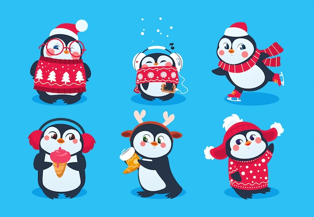 Pingouin De Noël. Animaux De Neige Drôles, Personnages De Dessins Animés De Pingouins Bébé Mignons En Chapeau D'hiver. Vecteur Premium